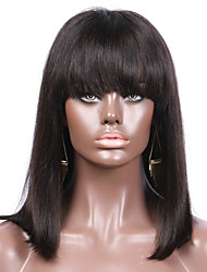 cheap -Remy Human Hair Lace Front Wig Bob style Brazilian Hair Straight Wig 130% Density Natural Hairline With Bleached Knots Women's Short Human Hair Lace Wig Bangs beikashang