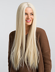 cheap -Synthetic Wig Synthetic Lace Front Wig Straight Kardashian Middle Part Wig Very Long Brown / White Synthetic Hair 26 inch Women's Waterfall Fashionable Design New Arrival White MAYSU