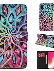 cheap -Case For Apple iPhone XS Wallet / Card Holder / Flip Full Body Cases Mandala Hard PU Leather