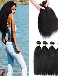 cheap -6 Bundles Brazilian Hair kinky Straight Human Hair Unprocessed Human Hair Headpiece Natural Color Hair Weaves / Hair Bulk Hair Care 8-28 inch Natural Color Human Hair Weaves Fashionable Design Smooth