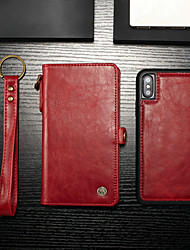 cheap -Case For Apple iPhone XS / iPhone X Wallet / Card Holder / with Stand Full Body Cases Solid Colored Hard PU Leather