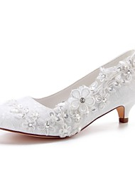 cheap -Women's Satin Spring &  Fall Wedding Shoes Kitten Heel Round Toe Crystal / Pearl Ivory / Party & Evening