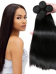 cheap -4 Bundles Peruvian Hair Straight Human Hair Natural Color Hair Weaves / Hair Bulk Hair Accessory Bundle Hair 8-28 inch Natural Color Human Hair Weaves Silky Smooth Hot Sale Human Hair Extensions