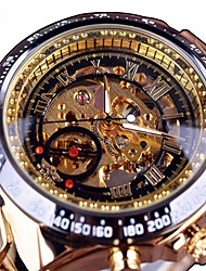 cheap -Men's Skeleton Watch Mechanical Watch Quartz Stainless Steel Black / Gold Hollow Engraving Large Dial Analog Casual Fashion - Gold / Black Black / Silver Black / Rose Gold