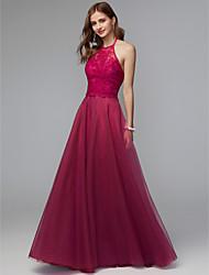 cheap -A-Line Halter Neck Floor Length Lace Bridesmaid Dress with Pleats