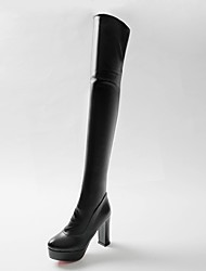 cheap -Women's Boots Over-The-Knee Boots Chunky Heel Round Toe PU Over The Knee Boots Minimalism Fall / Winter Black / White