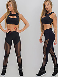 cheap -Women's See Through Ruched Butt Lifting Yoga Pants Solid Color Mesh Zumba Fitness Gym Workout Tights Activewear Power Flex Stretchy Slim