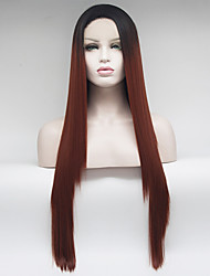 cheap -Synthetic Lace Front Wig Straight Middle Part Lace Front Wig Ombre Long Black / Red Synthetic Hair 18-26 inch Women's Adjustable Heat Resistant Elastic Ombre