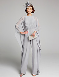 cheap -Pantsuit / Jumpsuit Jewel Neck Floor Length Chiffon Long Sleeve Mother of the Bride Dress with Ruching 2020