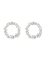 cheap -Earrings Cubic Zirconia Copper For Women's Circle European Simple Style Fashion Event / Party Daily High Quality Classic Diamond 1 Pair / S925 Sterling Silver