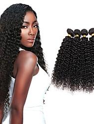 cheap -4 Bundles Indian Hair Kinky Curly Human Hair Natural Color Hair Weaves / Hair Bulk Hair Accessory Bundle Hair 8-28 inch Natural Color Human Hair Weaves Soft Silky Natural Human Hair Extensions
