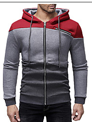 cheap -Men's Basic Sleeveless / Long Sleeve Hoodie - Solid Colored Hooded Navy Blue L