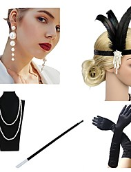 cheap -The Great Gatsby Charleston 1920s The Great Gatsby Flapper Headband Women's Tassel Costume Head Jewelry Pearl Necklace Black / Golden / Black & White Vintage Cosplay / Gloves / Earrings / Gloves