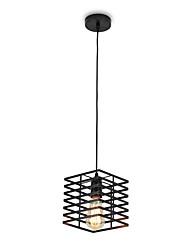 cheap -1-Light Vintage Black Square Metal Cage Loft Mini Pendant Lights Living Room Dining Room Hallway Cafe Bars Light Fixture
