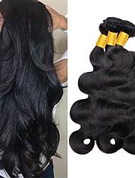 cheap -3 Bundles Wavy Human Hair Unprocessed Human Hair Natural Color Hair Weaves / Hair Bulk Extension Bundle Hair 8-28 inch Natural Color Human Hair Weaves Extender Silky Best Quality Human Hair Extensions