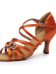 cheap -Women's Latin Shoes Simple Crystals Cuban Heel Orange Ankle Strap / Performance / Satin / Leather / Practice