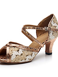 cheap -Women's Latin Shoes Heel Pattern / Print Cuban Heel Rainbow Buckle Ankle Strap Sparkling Shoes / Performance / Leather / Practice