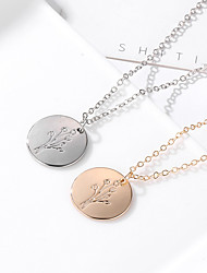 cheap -Women's Charm Necklace Classic Engraved Tree of Life life Tree Simple Fashion Alloy Gold Silver 47+5 cm Necklace Jewelry 1pc For Daily Work