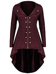 abordables -Femme Sortie Automne hiver Grandes Tailles Longue Manteau, Couleur Pleine Col rabattu Manches Longues Polyester Violet / Vin