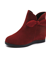 cheap -Women's Boots Flat Heel Bowknot Suede Booties / Ankle Boots Casual Winter Black / Brown / Red