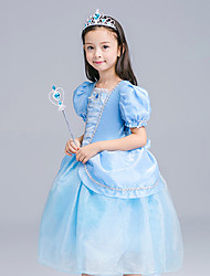 cheap -Princess Cinderella Cosplay Costume Flower Girl Dress Kid's Girls' A-Line Slip Active Halloween Christmas Halloween Carnival Festival / Holiday Tulle Silk LightBlue Carnival Costumes Solid Colored