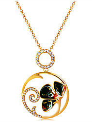cheap -Women's Clear Cubic Zirconia Pendant Necklace Classic Flower Luxury Vintage Fashion Gold Plated Imitation Diamond Alloy Gold 90 cm Necklace Jewelry 1pc For Evening Party Formal