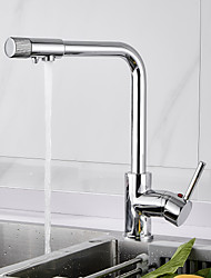 cheap -Kitchen faucet - Single Handle One Hole Chrome Centerset Country Kitchen Taps / Brass