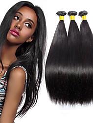 cheap -3 Bundles Malaysian Hair Straight Human Hair Unprocessed Human Hair Headpiece Natural Color Hair Weaves / Hair Bulk Extension 8-28 inch Natural Color Human Hair Weaves Soft Silky Best Quality Human