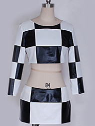 cheap -Inspired by Vocaloid Hatsune Miku Anime Cosplay Costumes Japanese Cosplay Suits Grid / Plaid Patterns Black & White Top Skirt More Accessories For Men's Women's