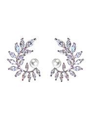 cheap -Earrings Imitation Pearl Cubic Zirconia For Women's Geometric Elegant European Fashion Wedding Party High Quality Metal Leaf 1 Pair / S925 Sterling Silver