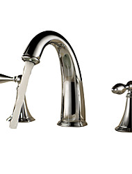 cheap -Bathroom Sink Faucet - Waterfall Chrome Widespread Three Holes / Two Handles Three HolesBath Taps