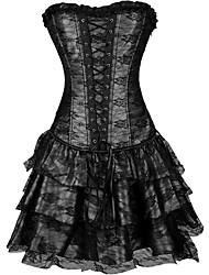 cheap -Cosplay Steampunk Retro Victorian 18th Century Dress Overbust Corset Women's Lace Costume Black / Purple / Green Vintage Cosplay Sleeveless Short Length
