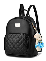 cheap -Women's PU Leather School Bag Rucksack Commuter Backpack Large Capacity Waterproof Zipper Lattice Daily Backpack Bronze Wine Black Blushing Pink Beige
