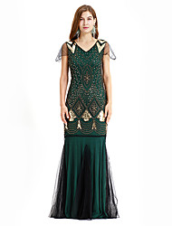 cheap -The Great Gatsby Charleston Vintage 1920s Flapper Dress Dress Women's Sequin Costume Golden+Black / Green / Red Vintage Cosplay Party Homecoming Prom Sleeveless Maxi