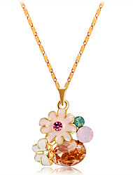 cheap -Women's Orange Crystal Pendant Necklace Classic Flower Butterfly Romantic Fashion Elegant Gold Plated Alloy Orange 42 cm Necklace Jewelry 1pc For Party / Evening Daily