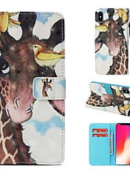 cheap -Case For Apple iPhone XS Wallet / Card Holder / Flip Full Body Cases Animal Hard PU Leather