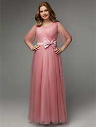 cheap -A-Line V Neck Floor Length Tulle Elegant Prom Dress with Bow(s) / Sash / Ribbon 2020 / Illusion Sleeve