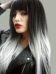 cheap -Synthetic Wig Natural Straight Kardashian Asymmetrical Wig Very Long Black / White Synthetic Hair 24 inch Women's New Arrival Ombre Hair Natural Hairline Black MAYSU