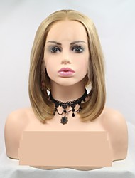 cheap -Synthetic Lace Front Wig Loose Curl Layered Haircut Lace Front Wig Blonde Short Light golden Synthetic Hair 12 inch Women's Women Blonde Sylvia