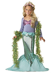 cheap -The Little Mermaid Cosplay Costume Halloween Props Flower Girl Dress Kids Elementary Girls' A-Line Slip Princess Lolita Halloween Halloween Festival / Holiday Polyster Green Carnival Costumes / Bra