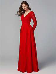 cheap -A-Line V Neck Floor Length Chiffon / Lace Bridesmaid Dress with Lace