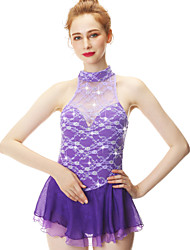 cheap -21Grams Figure Skating Dress Women's Girls' Ice Skating Dress Violet Spandex Stretch Yarn High Elasticity Skating Wear Handmade Fashion Sleeveless Ice Skating Winter Sports Figure Skating