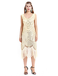 cheap -The Great Gatsby Charleston Retro Vintage 1920s Flapper Dress Dress Women's Sequin Costume Black / Beige Vintage Cosplay Party Prom Sleeveless Midi
