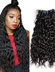 cheap -4 Bundles Brazilian Hair Water Wave Human Hair Wig Accessories Natural Color Hair Weaves / Hair Bulk Hair Care 8-28 inch Natural Color Human Hair Weaves Soft Smooth Extention Human Hair Extensions