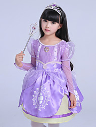 cheap -Sofia Cosplay Costume Flower Girl Dress Kid's Girls' A-Line Slip Dresses Mesh Christmas Halloween Carnival Festival / Holiday Tulle Silk Purple Carnival Costumes Lace / Cotton