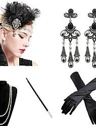 abordables -Gatsby Charleston Années 1920 Gatsby Les rugissantes années 20 Ensembles d'accessoires de costume Gants Bandeau Garçonne Femme Franges Costume Bijoux de Cheveux Boucles d'Oreille Collier de perles