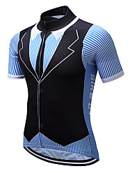 cheap -TELEYI Men's Short Sleeve Cycling Jersey Black / Blue Stripes Bike Jersey Top Mountain Bike MTB Road Bike Cycling Moisture Wicking Quick Dry Sports Coolmax® Terylene Clothing Apparel / Stretchy