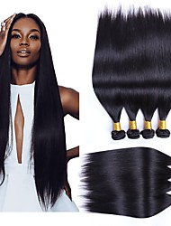 cheap -4 Bundles Brazilian Hair Straight Human Hair Wig Accessories Natural Color Hair Weaves / Hair Bulk Hair Care 8-28 inch Natural Color Human Hair Weaves Soft Silky Smooth Human Hair Extensions