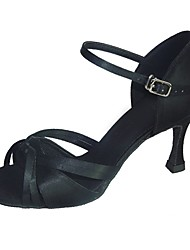cheap -Women's Latin Shoes Satin Sandal Cuban Heel Customizable Dance Shoes Black / Purple / Almond / EU43