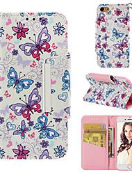 cheap -Case For Apple iPhone 7 Wallet / Card Holder / Flip Back Cover Butterfly Hard PU Leather